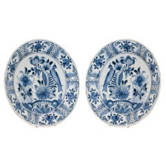 Pair of  Blue and White Dutch Delft Chargers
