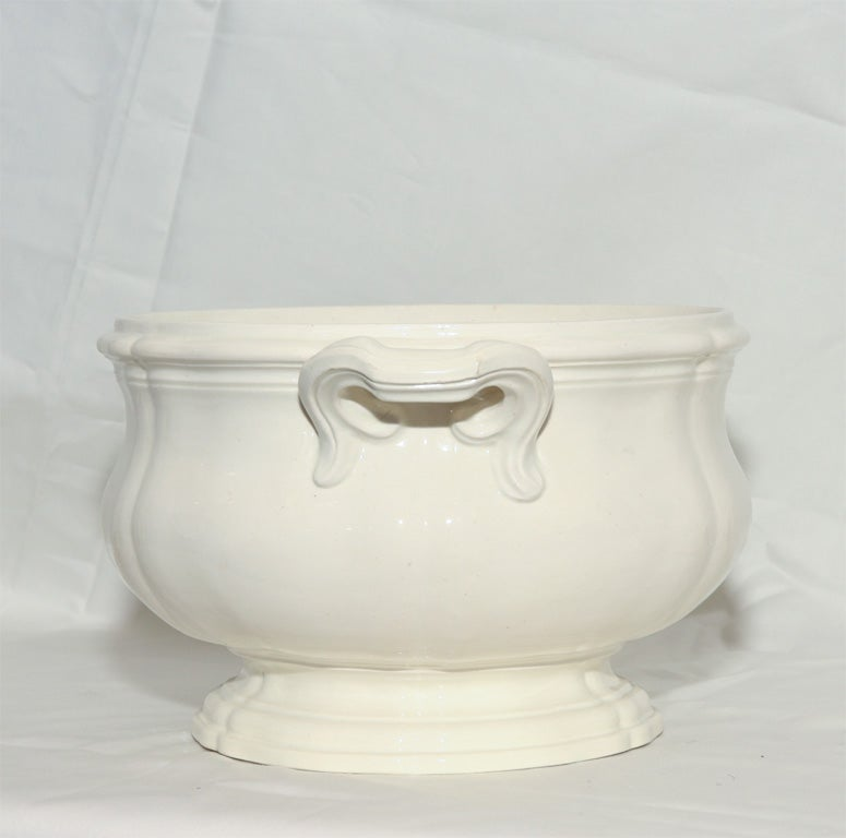 French An 18th Century  Creamware Soup Tureen For Sale