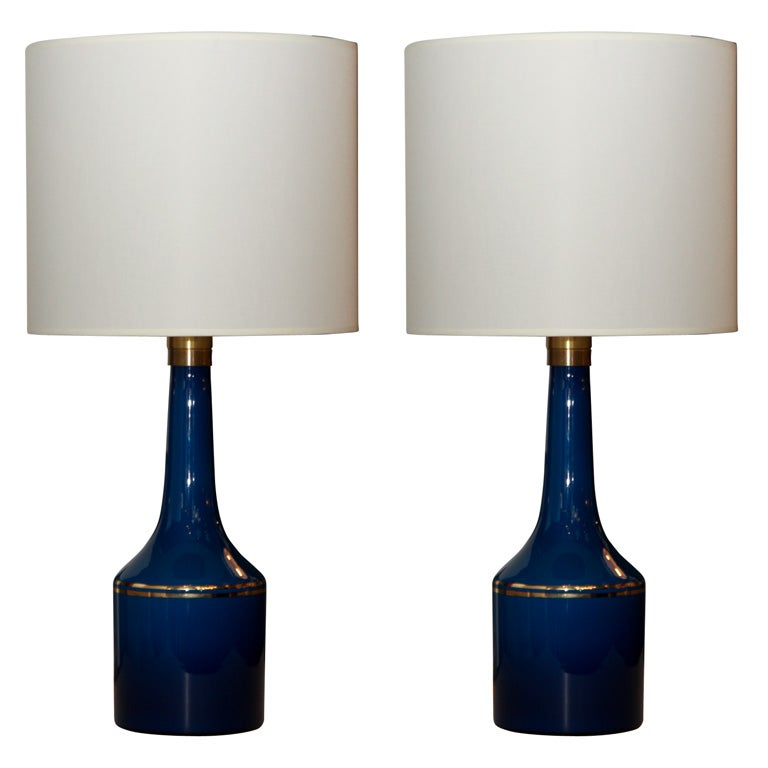 pair of cobalt blue glass lamps by lyktan haus at 1stdibs. Black Bedroom Furniture Sets. Home Design Ideas
