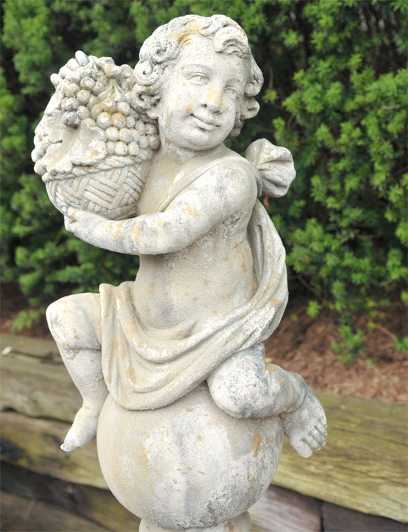 Pair of Stone Putti on Pedestals For Sale 1