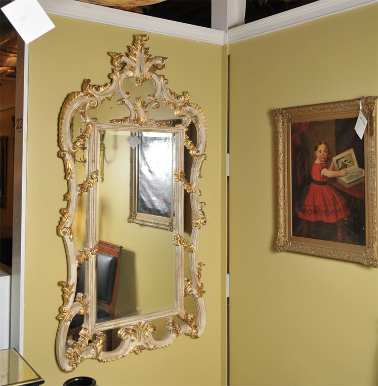 Beautiful parcel and gilt over the mantle mirror at 1stdibs for Mantle mirror