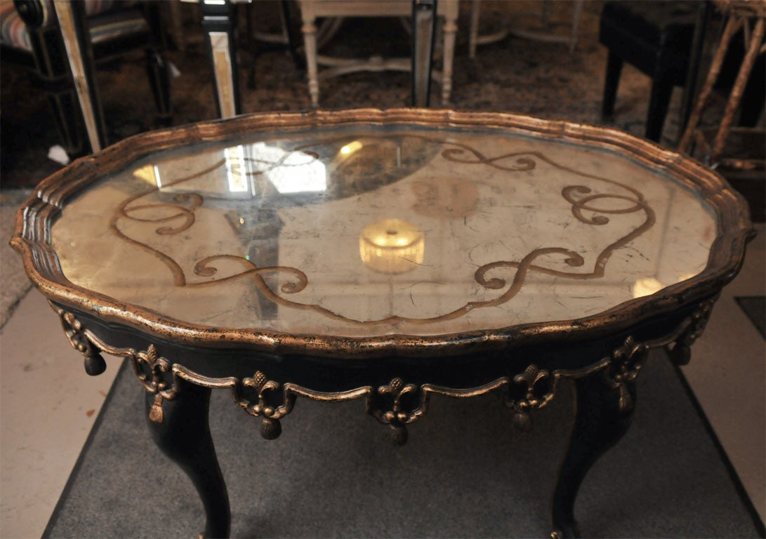 Oval Shaped Ebony Painted And Etched Glass Coffee Table 3