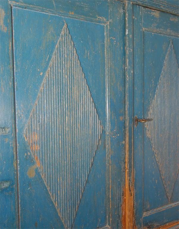 19th C. Swedish Gustavian dark blue cupboard with original date, circa 1842