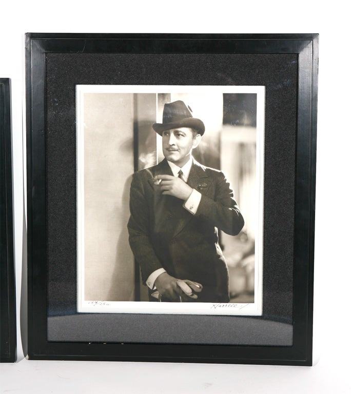 Photographs by George Hurrell of James Cagney and John Barrymore. Both are numbered 158/250 and signed 'Hurrell'. Beautifully displayed in custom art deco black lacquer art deco style frames with charcoal gray flannel matting.   These would be a