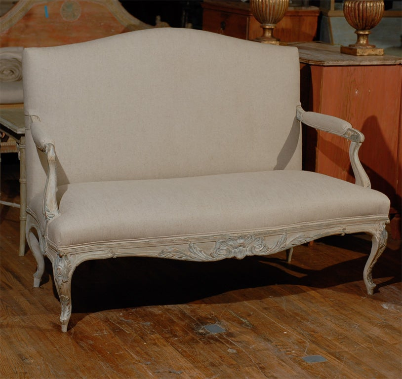 Two Louis XV Style French Painted Wood Upholstered Settees 3