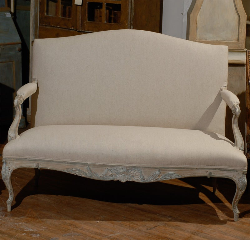 Two Louis XV Style French Painted Wood Upholstered Settees 4