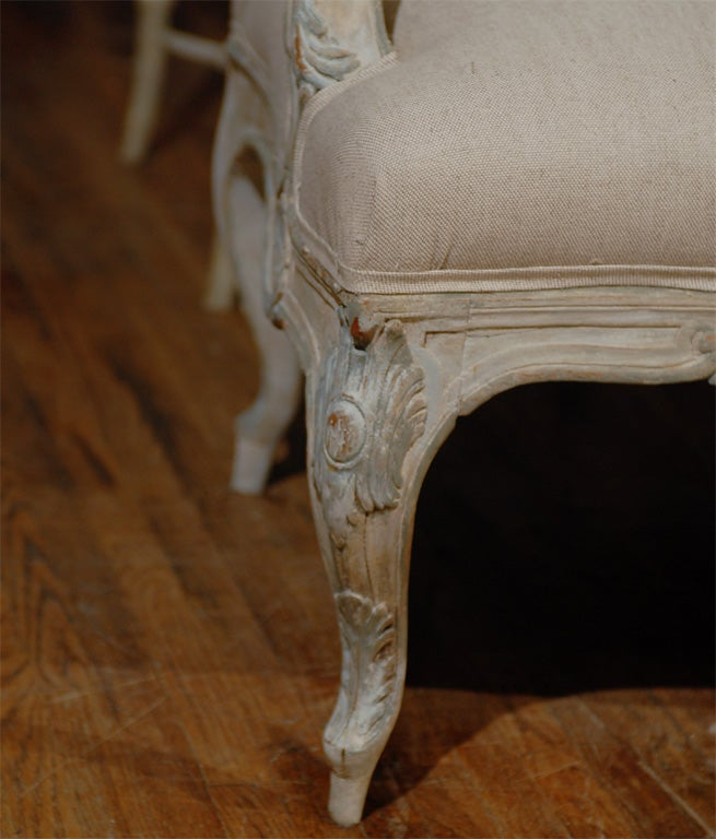 Two Louis XV Style French Painted Wood Upholstered Settees 5
