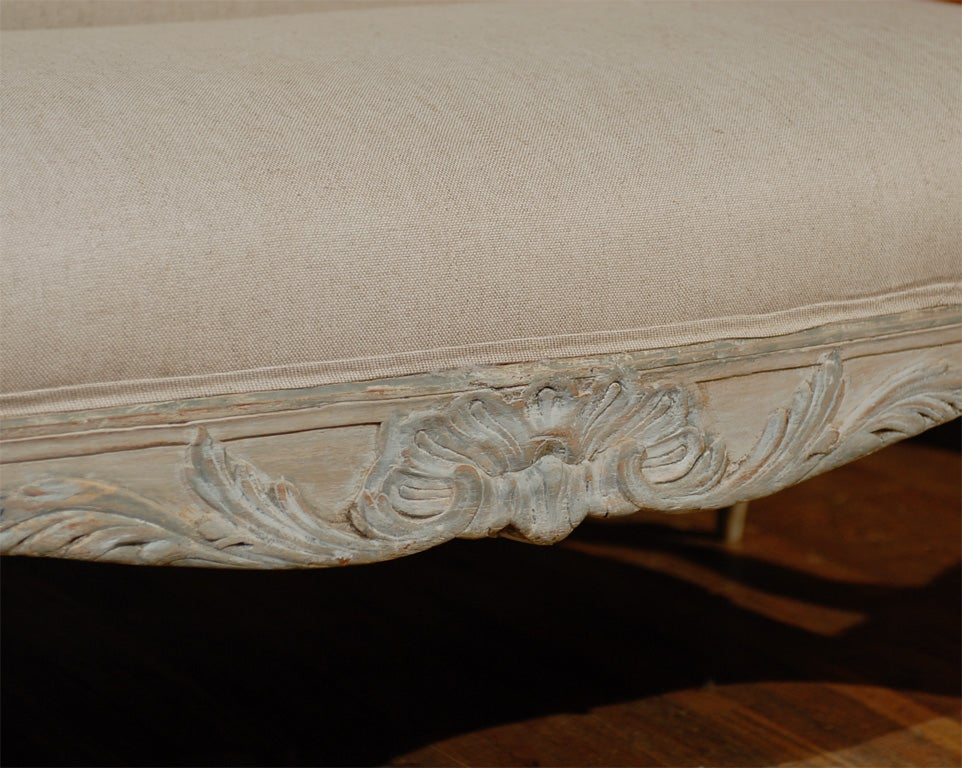 Two Louis XV Style French Painted Wood Upholstered Settees 6