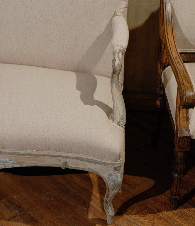 Two Louis XV Style French Painted Wood Upholstered Settees 7