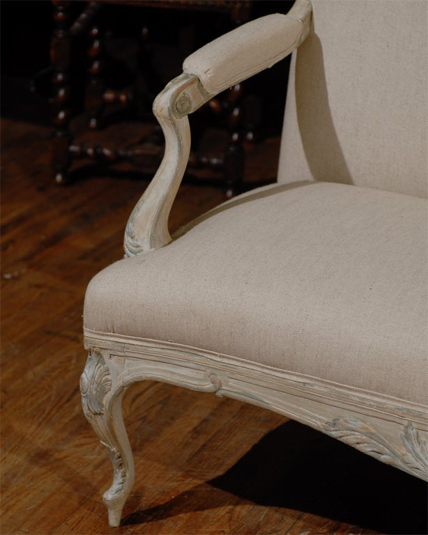 Two Louis XV Style French Painted Wood Upholstered Settees 8