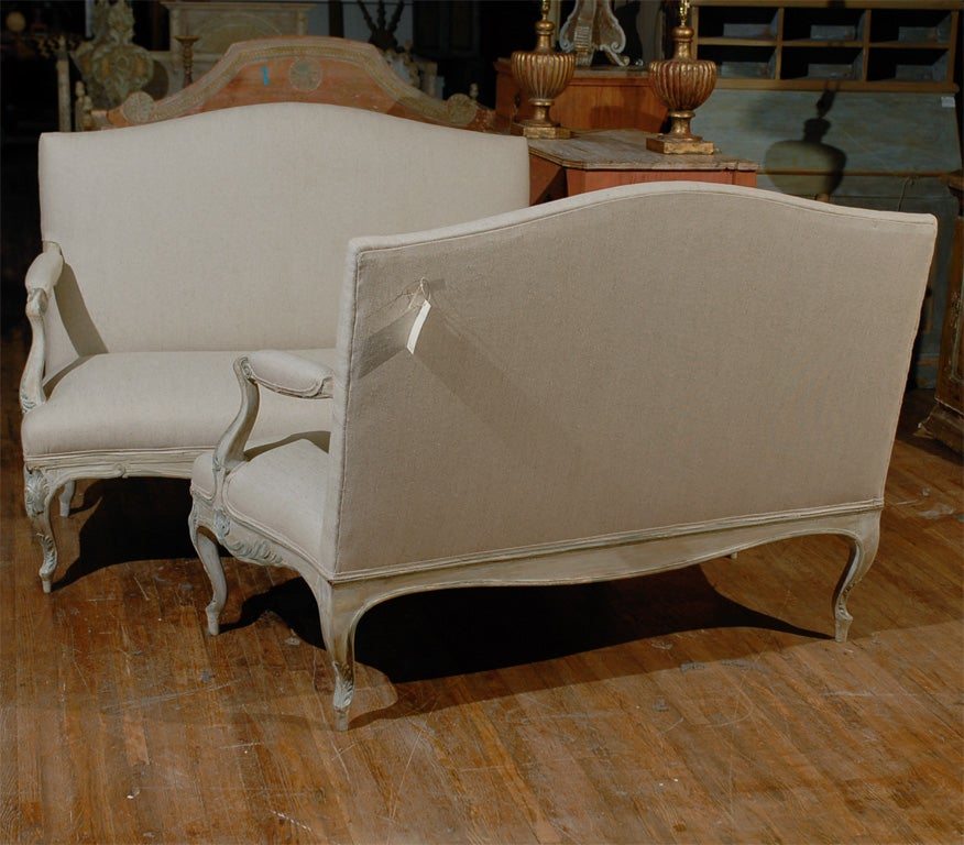 Two Louis XV Style French Painted Wood Upholstered Settees 9