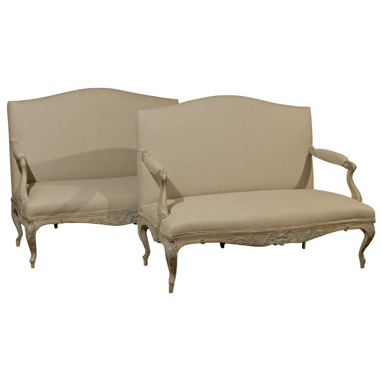 Two Louis XV Style French Painted Wood Upholstered Settees