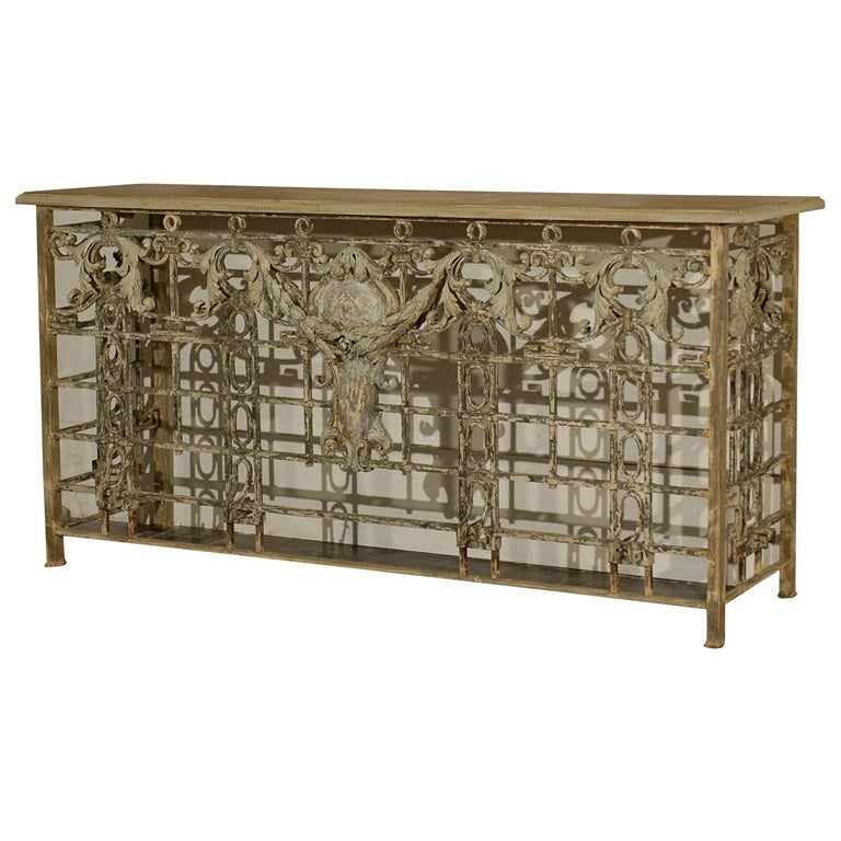 Iron console made from french balcony at 1stdibs for Balcony console