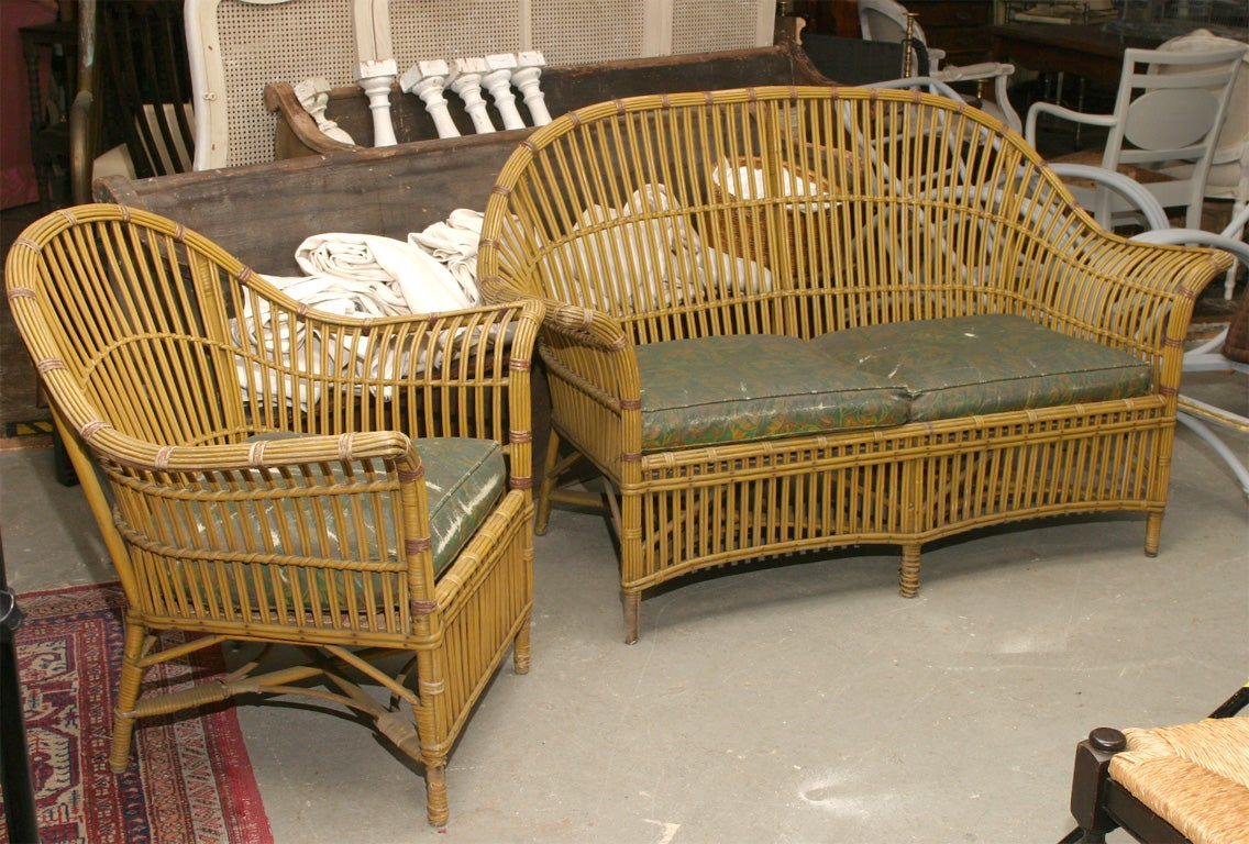 Stick Wicker Sofa And Chair For Sale At 1stdibs