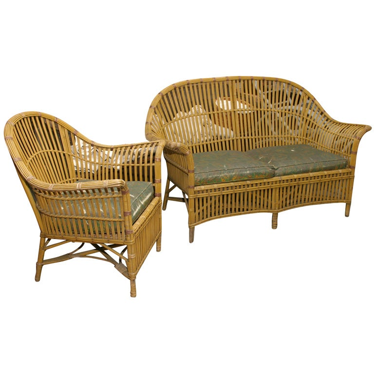 stick wicker sofa and chair for sale at 1stdibs. Black Bedroom Furniture Sets. Home Design Ideas