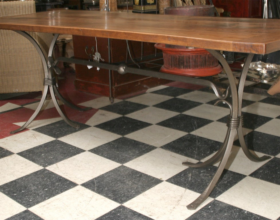 Distressed Cherry Wood Table Top On Metal Base At 1stdibs