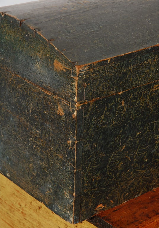 Wood 19th Century Original Paint Decorated Dome Top Box from Pennsylvania For Sale
