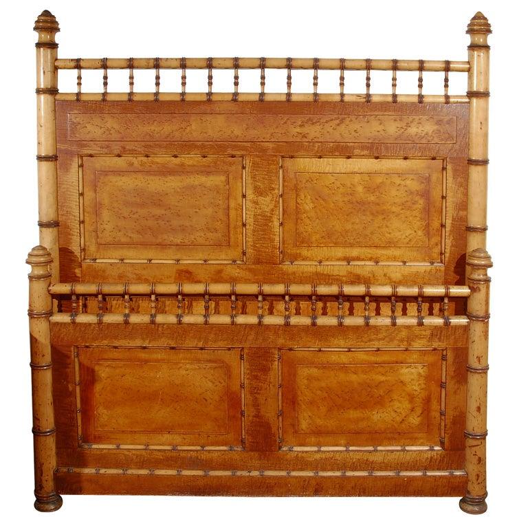 Rare Unusual Early 19thc Birdsye Maple Bamboo Bed Frame