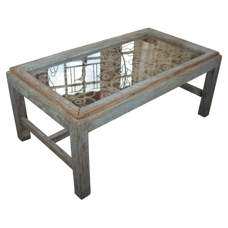 Weathered Wood Coffee Table For Sale