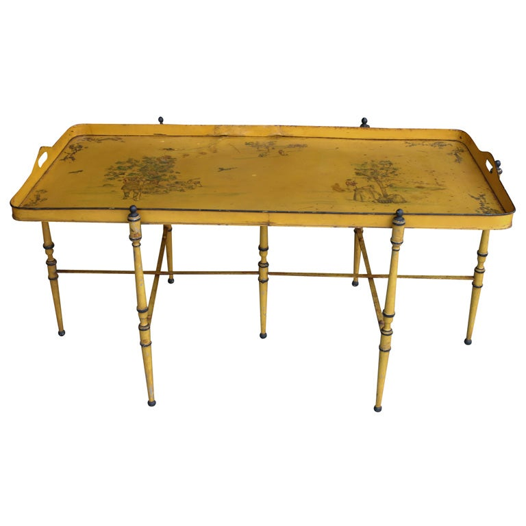 Yellow tole coffee table