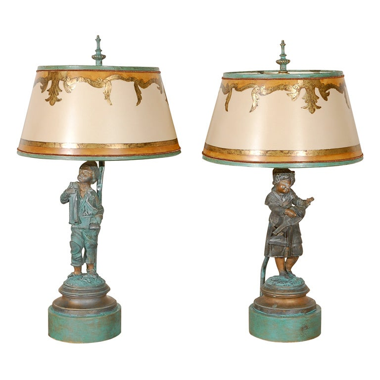 Pair Of Charming French Figural Lamps With Shades At 1stdibs