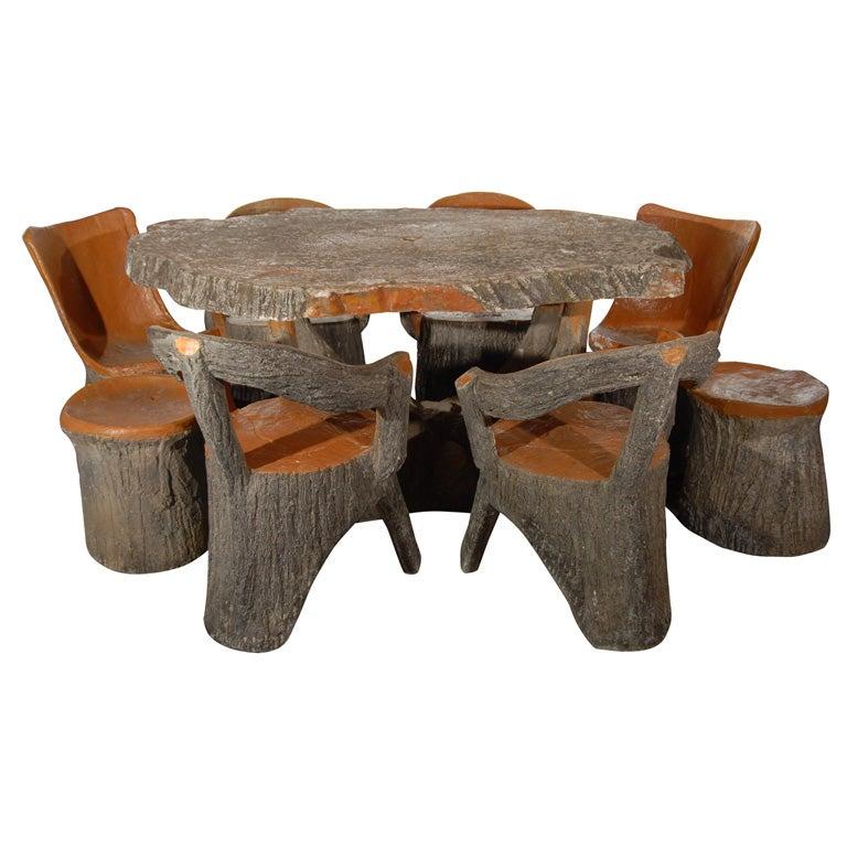Faux Bois Table Set