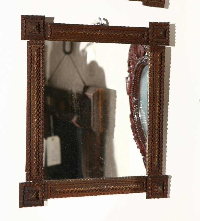Mirror Wall Decor Set Of Three : Set of three tramp art frames with mirrors at stdibs