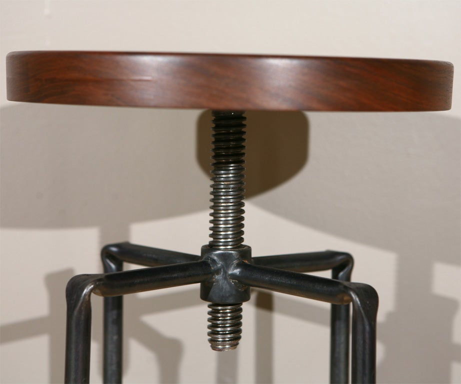 Walnut And Iron Telescoping Stool At 1stdibs