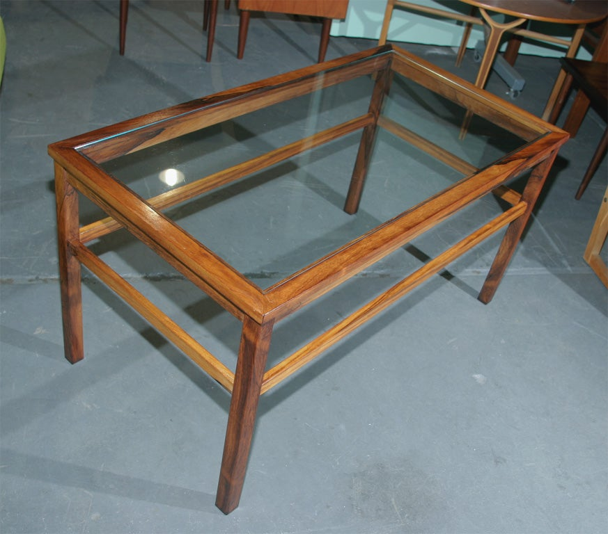 Rectangular rosewood coffee table with glass top at 1stdibs for Rectangular coffee table with glass top