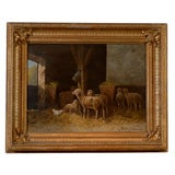 19th Century Framed Oil on Canvas of Sheep and Chicken in Barn