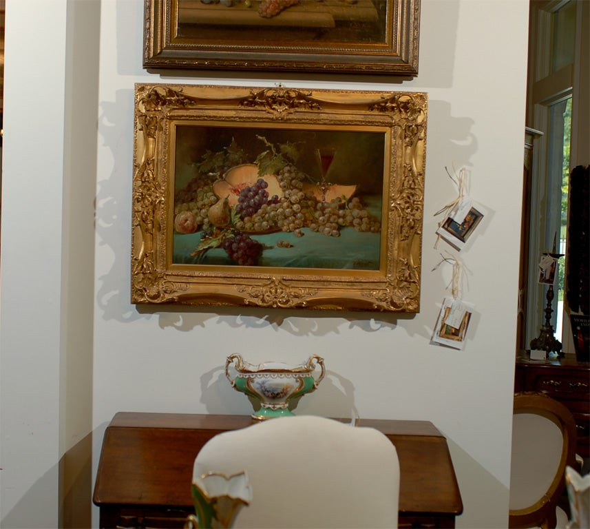 A French Napoleon III period still-life painting from the second half of the 19th century, signed and set in giltwood frame. This French still-life painting was born at the end of the reign of Emperor Napoleon III, at a time when France was losing