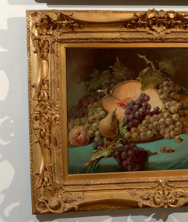 French 1870s Napoleon III Period Still-Life Painting with Giltwood Carved Frame In Good Condition For Sale In Atlanta, GA