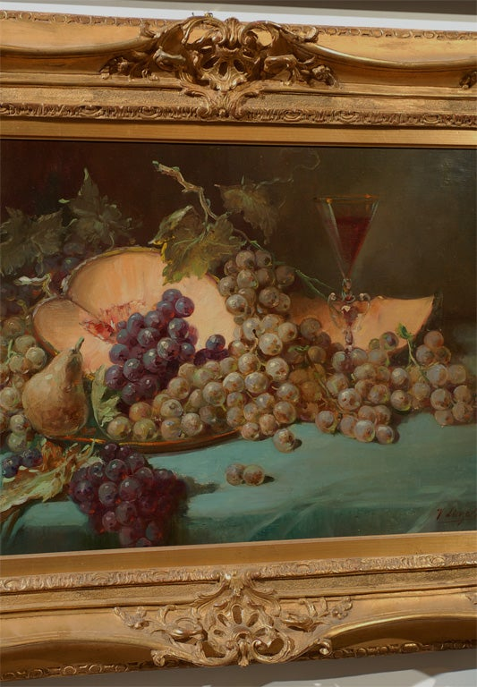 19th Century French 1870s Napoleon III Period Still-Life Painting with Giltwood Carved Frame For Sale