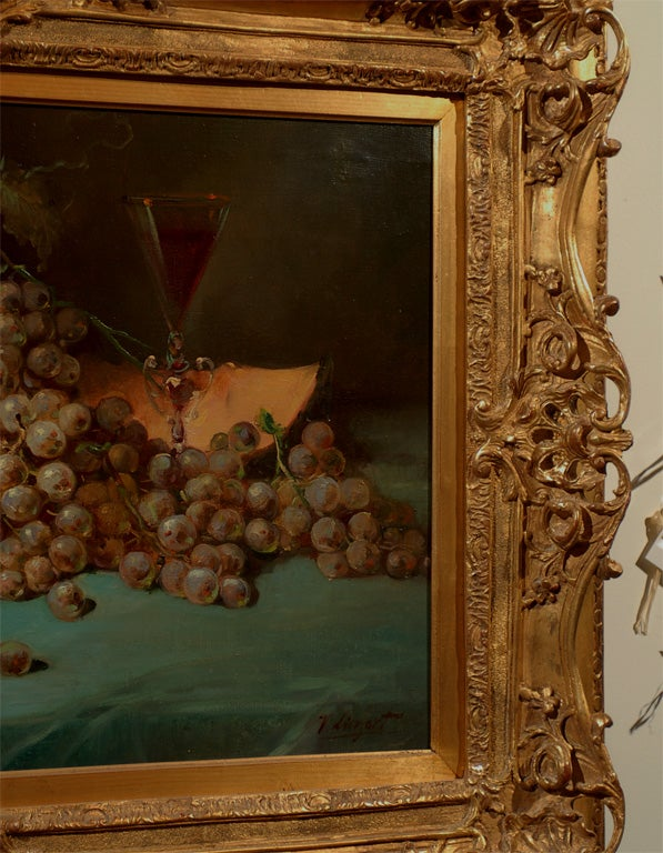 French 1870s Napoleon III Period Still-Life Painting with Giltwood Carved Frame For Sale 1