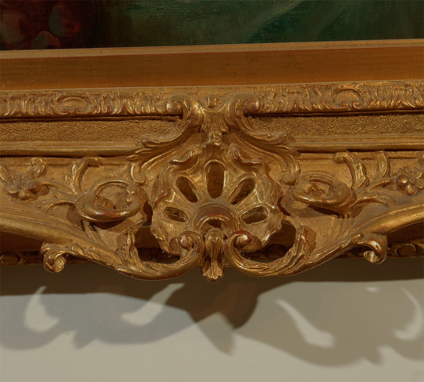 French 1870s Napoleon III Period Still-Life Painting with Giltwood Carved Frame For Sale 3