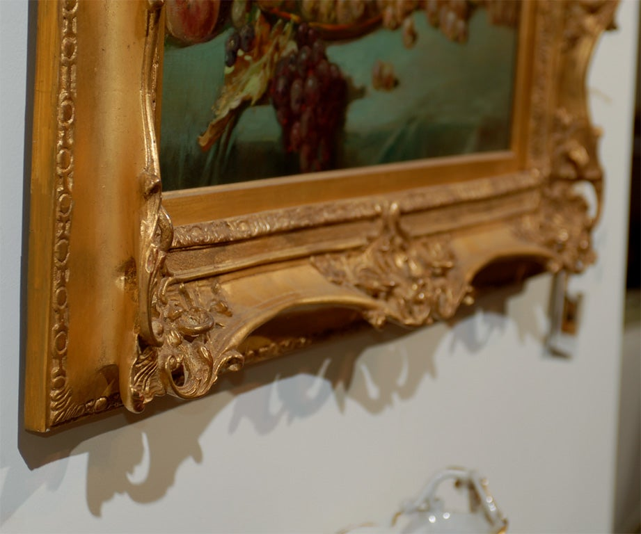 French 1870s Napoleon III Period Still-Life Painting with Giltwood Carved Frame For Sale 5