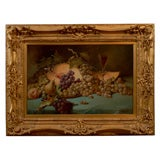French 1870s Napoleon III Period Still-Life Painting with Giltwood Carved Frame