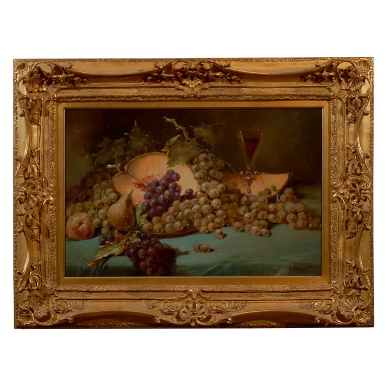 French 1870s Napoleon III Period Still-Life Painting with Giltwood Carved Frame For Sale