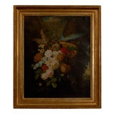 19th Century Dutch Oil on Canvas Floral Painting