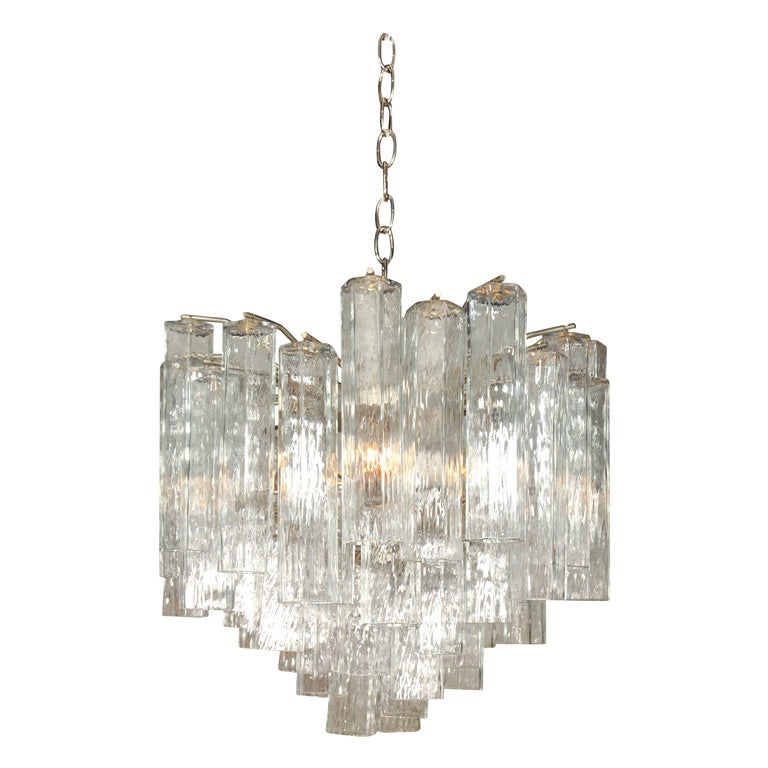 Multi Tiered Tubular Glass Chandelier by Venini at 1stdibs