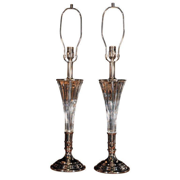 Pair of Elongated Nickel and Crystal Table Lamps