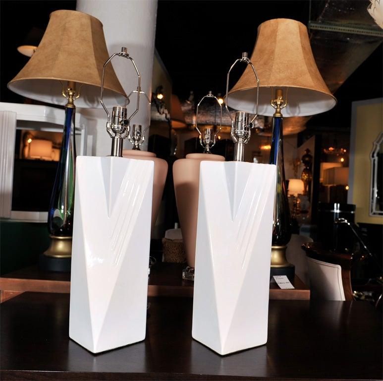 Pair Of Handmade Ceramic Table Lamps By Elite Design