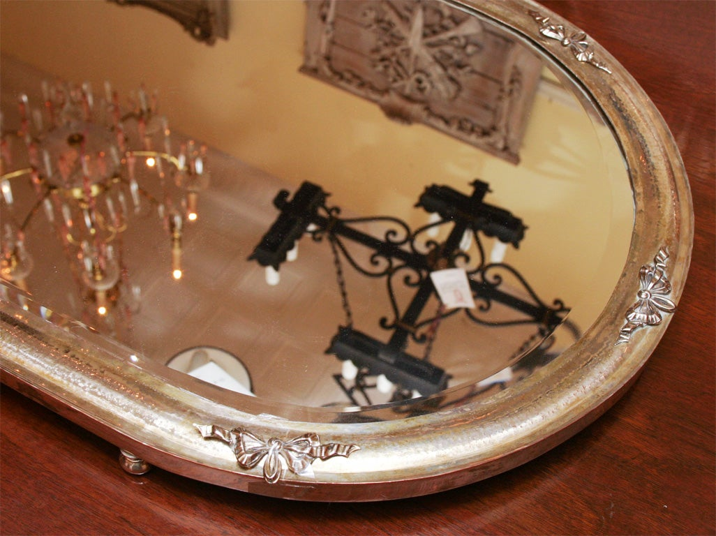 English silver plate with beveled mirror oval plateau at