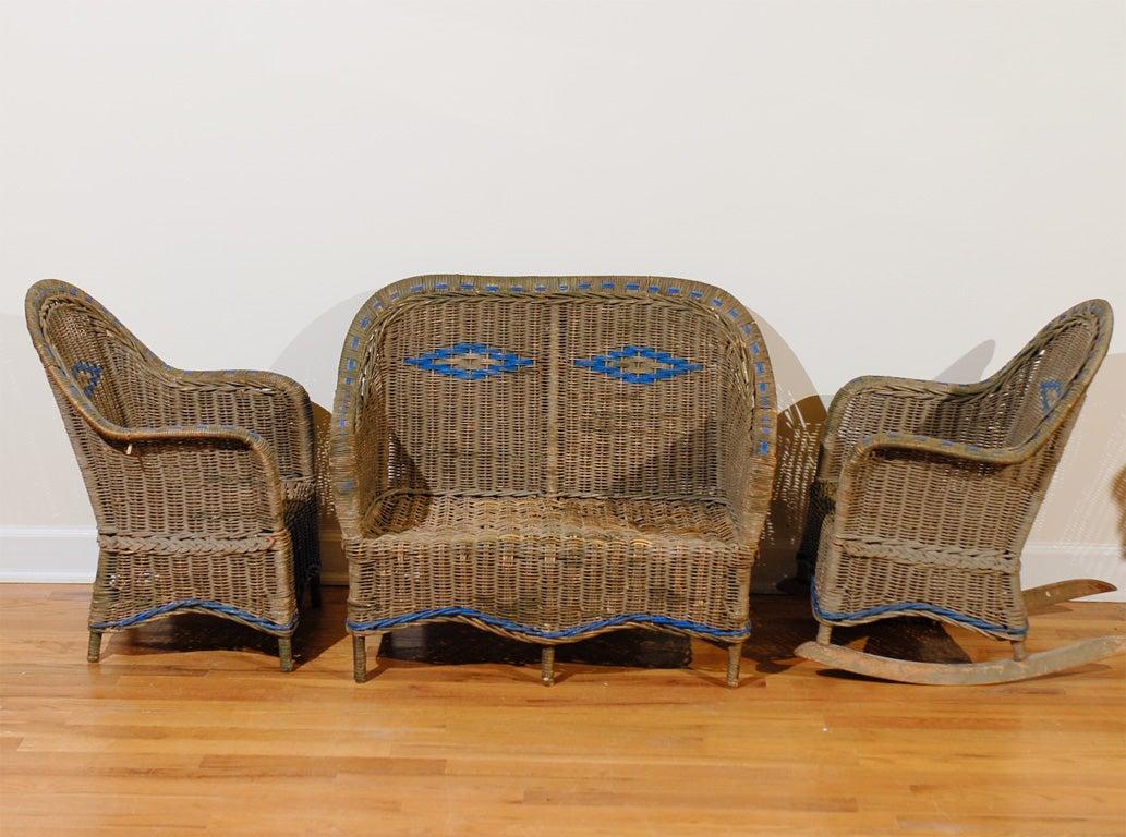 20th century american art deco wicker child 39 s sofa set for - Rattan living room furniture for sale ...
