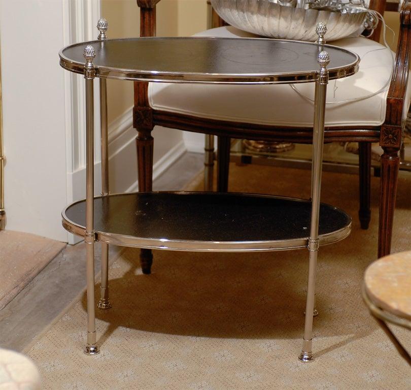 modern etagere with black leather shelves at 1stdibs. Black Bedroom Furniture Sets. Home Design Ideas