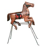 Carved Wood Carousel Horse on Iron Stand