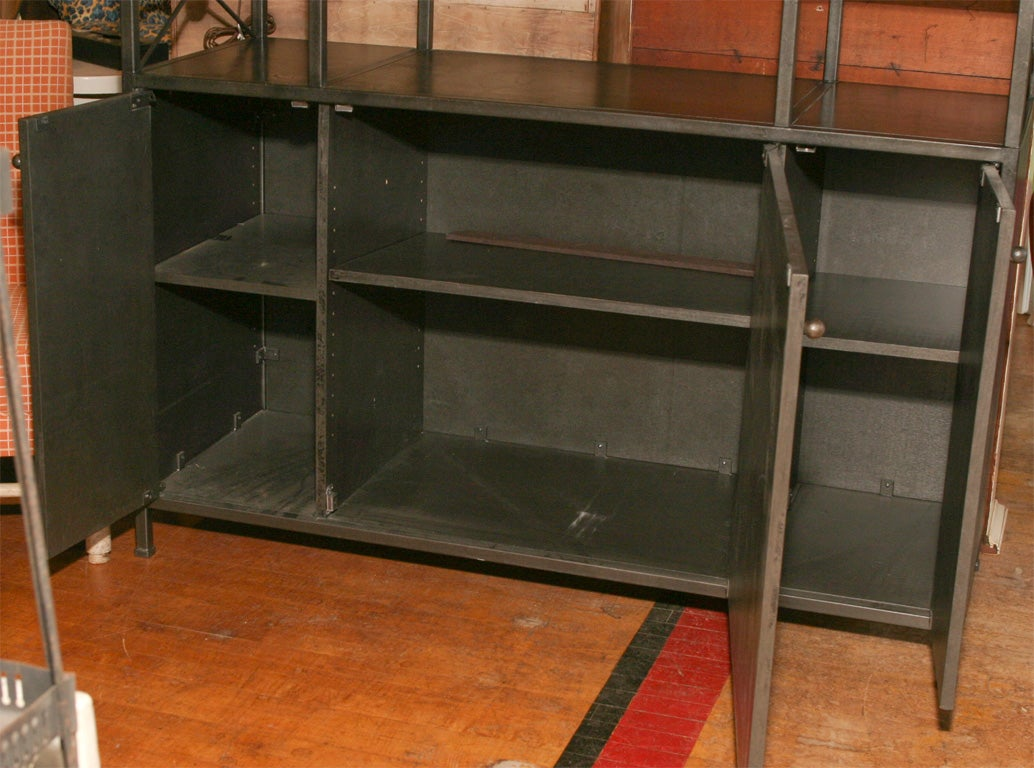 a large iron and wood etagere cabinet at 1stdibs. Black Bedroom Furniture Sets. Home Design Ideas