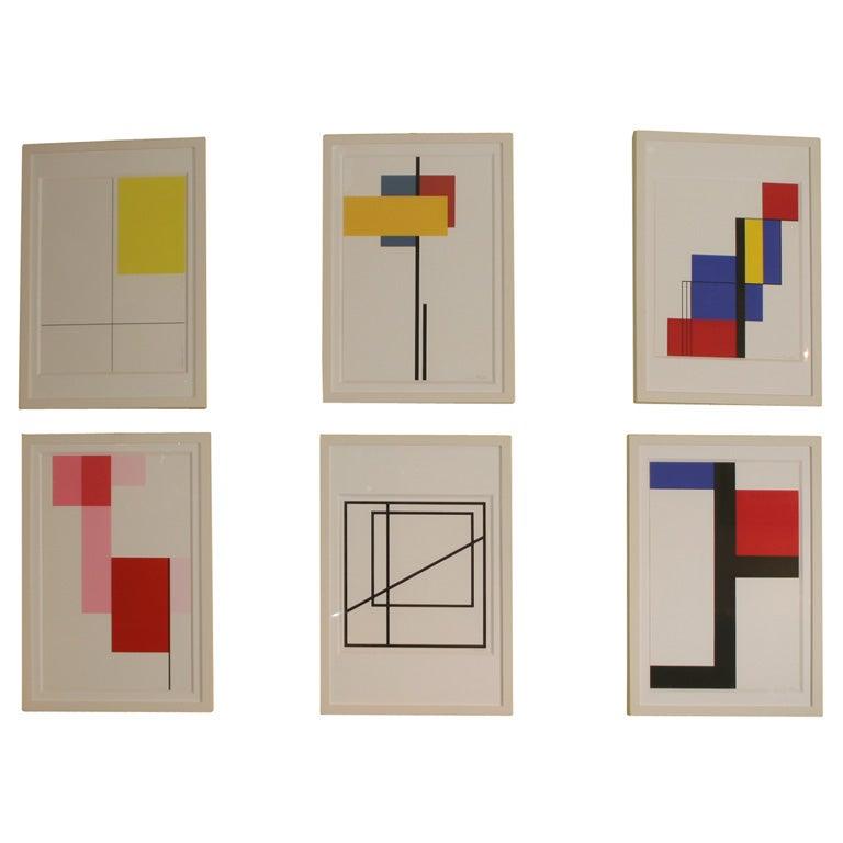 """Chemin 1"" Set of Six Framed Silk Screen Prints by French Artist Michel Seuphor"