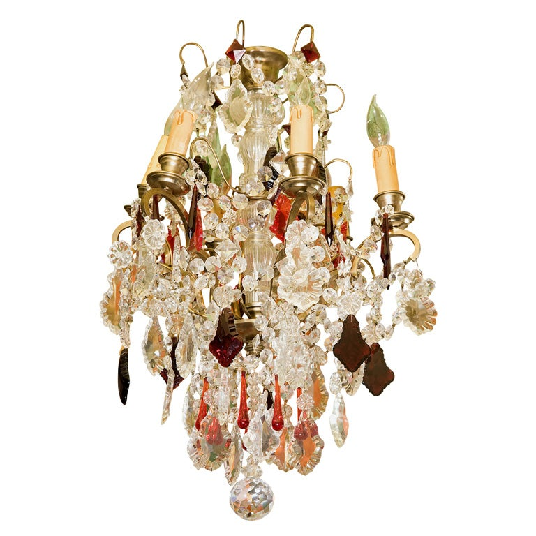 French 19c Red Crystal Chandelier At 1stdibs