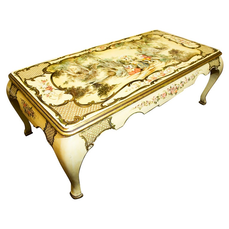 Vintage Mother Of Pearl Inlaid Coffee Table At 1stdibs